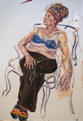 life drawing, painting, mature woman,acrylic,figure,colour