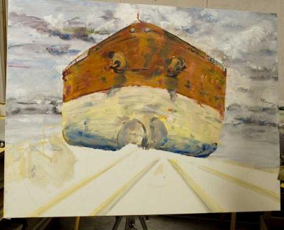 """Boat Changing Directions"", painting in progress"