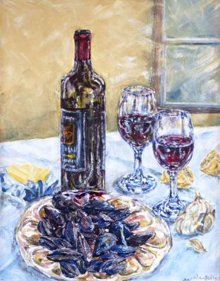 painting, wine, mussels, still life, re-do, changes, composition, colour