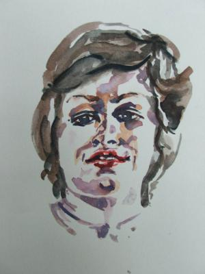 portrait, watercolour, self portrait, artist, poster, advert,