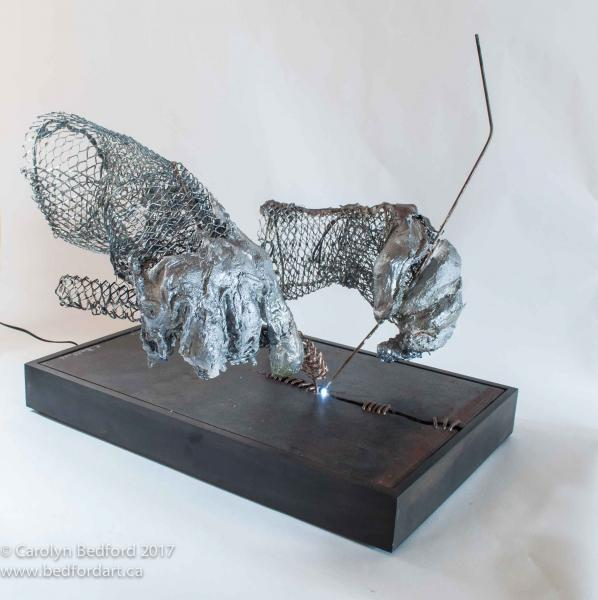 sculpture, mixed, wire, steel,LED