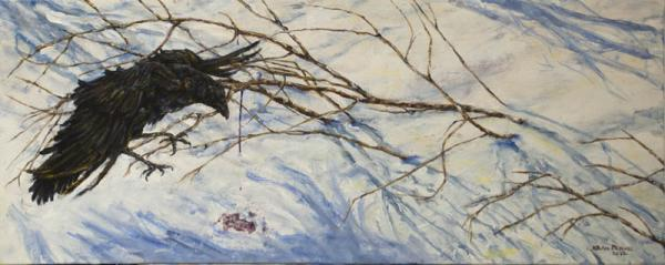 painting bird political acrylic winter