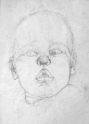 """""""Baby Lips"""", drawing in pencil"""