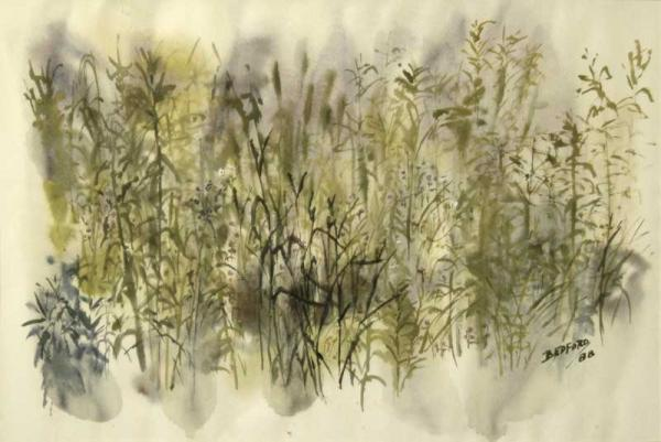 """Spring Grasses"", painting in watercolour"