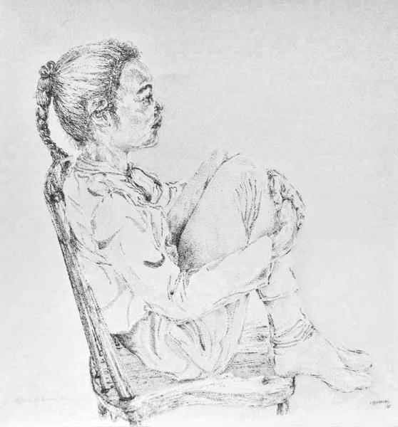 """Kyla on a Chair"", drawing in ink"