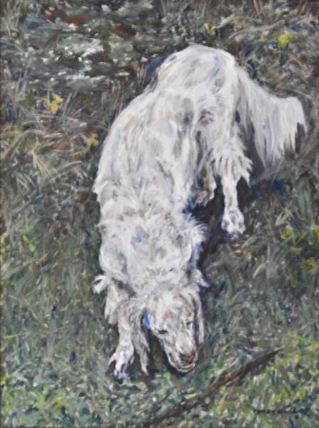 "'Dog Play"", painting in acrylic"