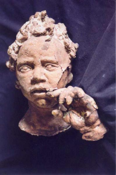 """Critical Thought"", sculpture in unfired clay, for casting in bronze"