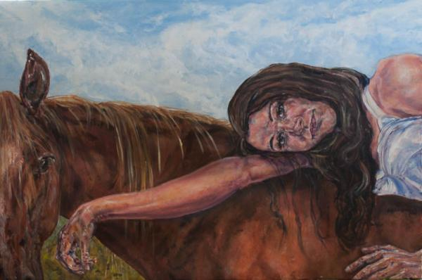 painting, acrylic, horse, woman, portrait