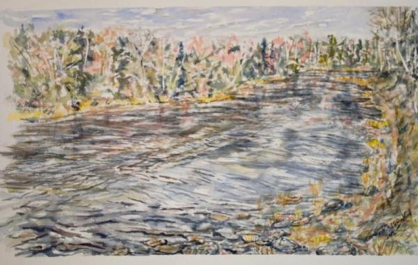 water colour, painting, river,scene