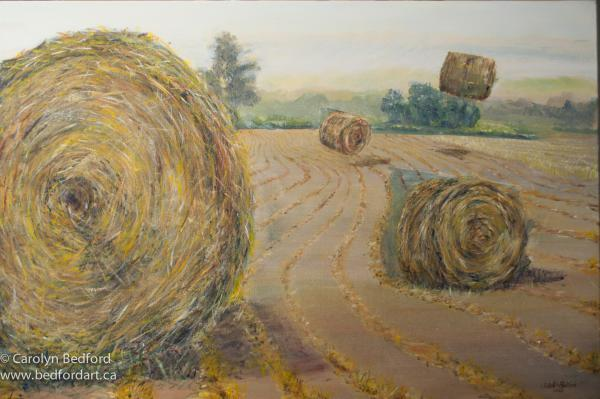 painting, comtemporary, hay bales,recent work